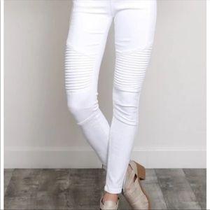Zara Coated White Biker Moto Jeans